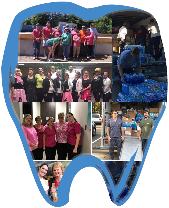 Tooth-shaped collage of the Croasdaile Dental Arts team in the community