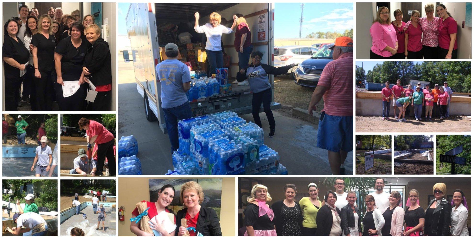 Collage of Croasdaile Dental Arts team volunteering around the community