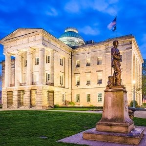 View of Capitol Building and statue in Raleigh, North Carolina.