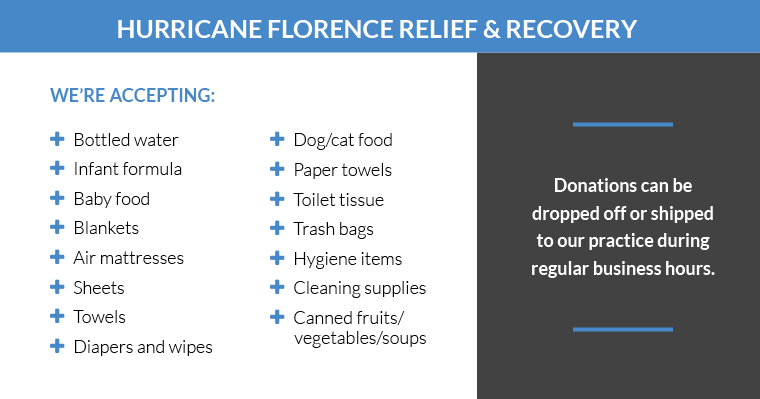 A list of the items Croasdaile Dental Arts is accepting for the Hurricane Florence Relief drive