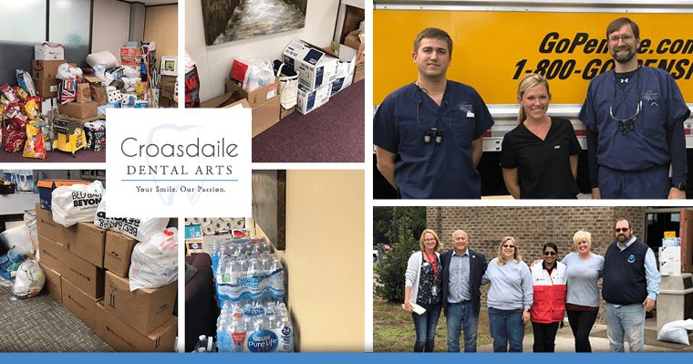 Collage of the Croasdaile Dental Arts team delivering donated items for survivors of Hurricane Florence