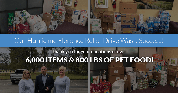 Our Hurricane Florence Relief Drive was a success! 6,000 items donated